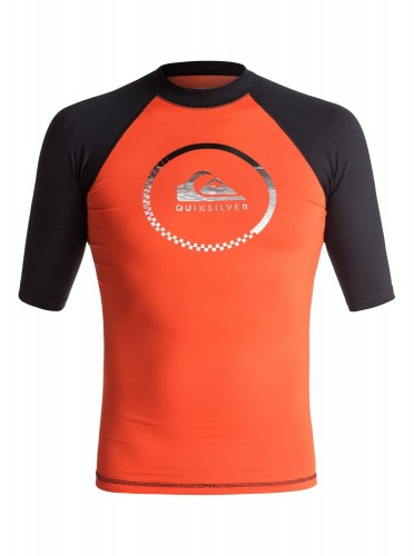 LYCRA Quiksilver Active Short Sleeve Rash Vest FLAME/BLACK
